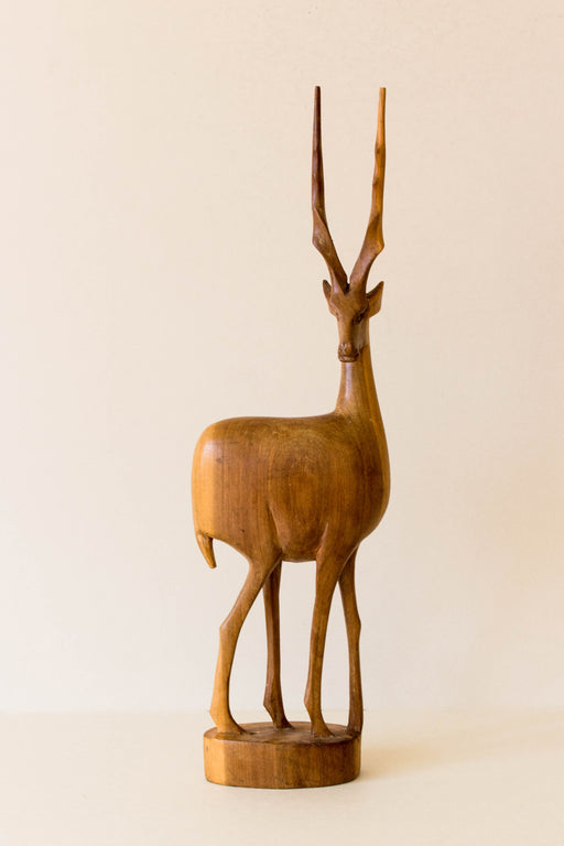 Mid Century Carved Wood Antelope