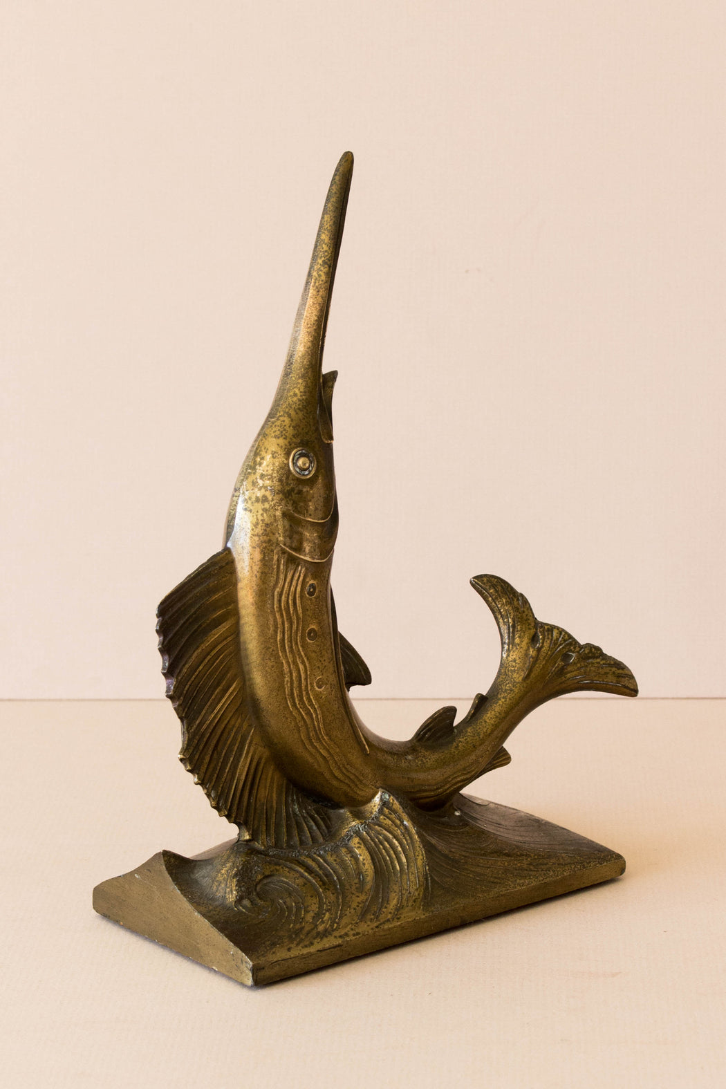 Brass Swordfish Bookend
