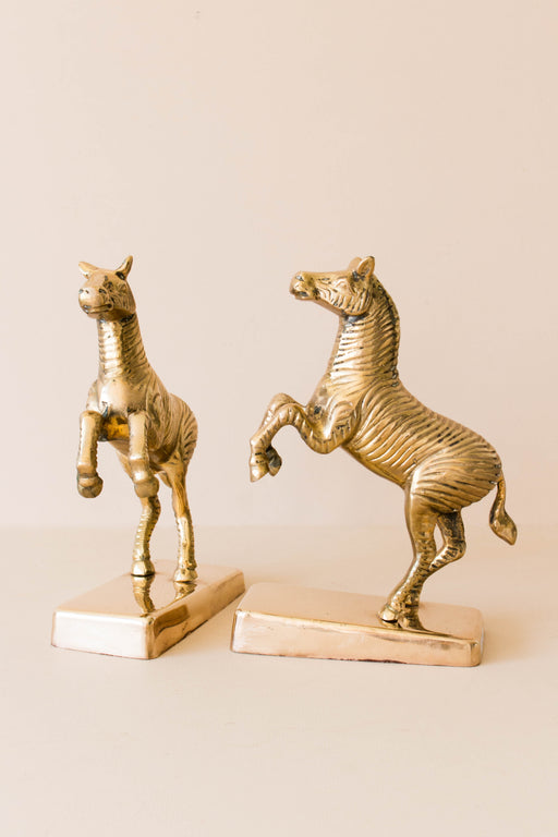 Brass Zebra Bookends