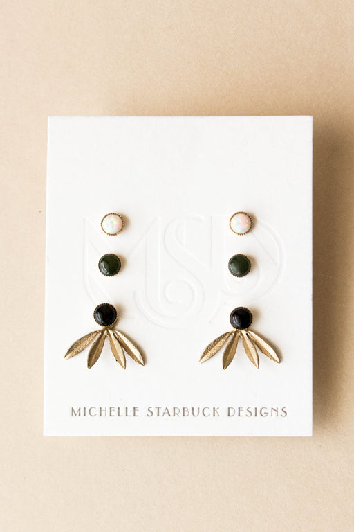 Michelle Starbuck Designs - Laurel Jackets with Opal, Jade, and Onyx Studs Set