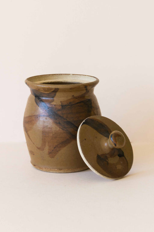 Brown Ceramic Lidded Container
