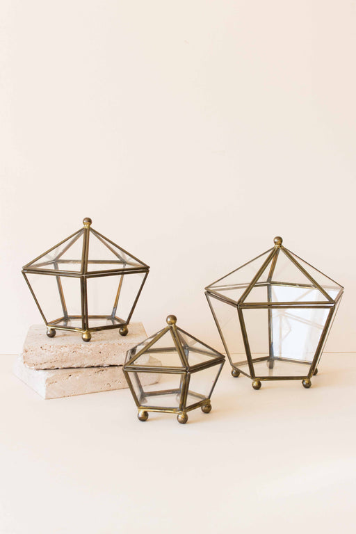 Glass + Brass Pentagon Shaped Box