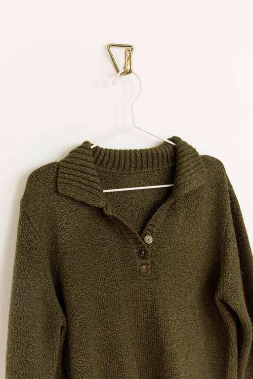 Green Pullover Sweater W/ Buttons