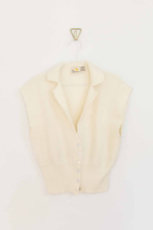 Cream Liz Claiborne Short Sleeve Sweater