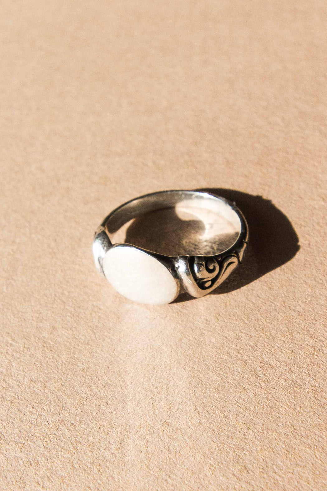 Sterling Signet Ring W/ Side Detail