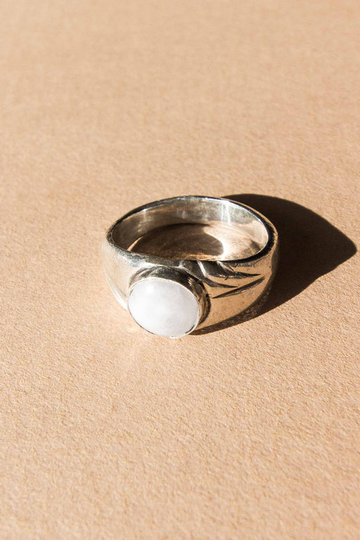 Sterling + White Stone Ring