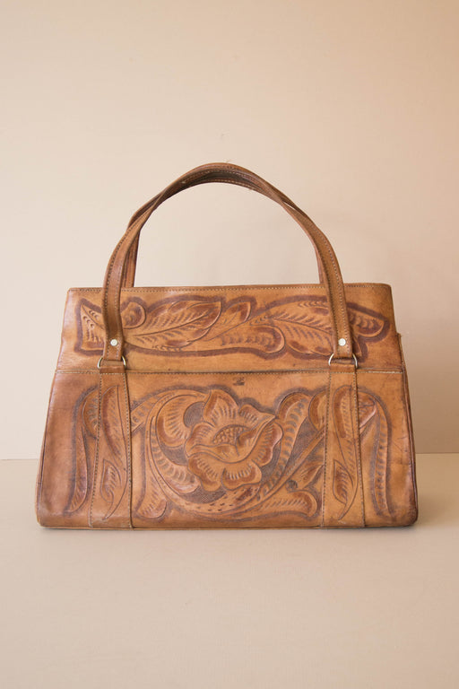 Floral Tooled Leather Purse