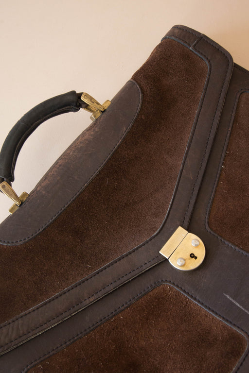 Brown Suede Briefcase