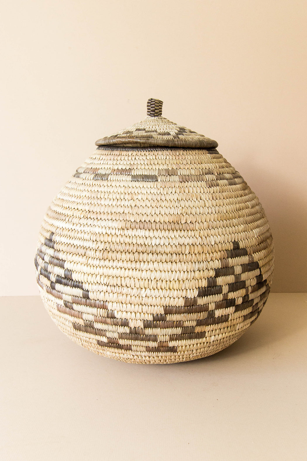 Lidded African Beer Basket