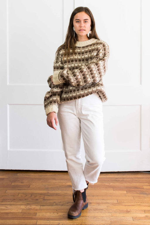 Brown + Cream Icelandic Wool Sweater