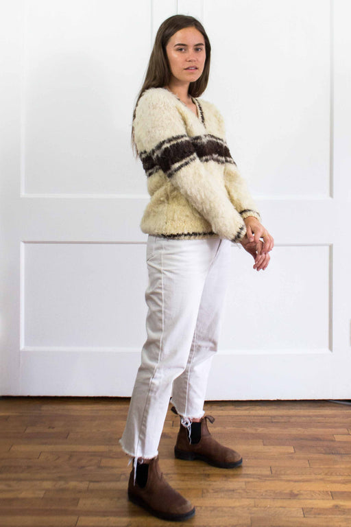 Fuzzy Brown Stripe Cream Knit Sweater