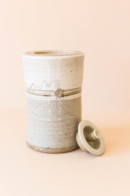 Large Ceramic Grey Lidded Container