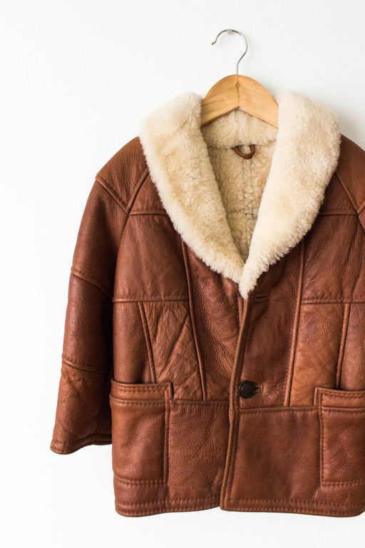 Brown Leather Shearling Lined Kid's Coat