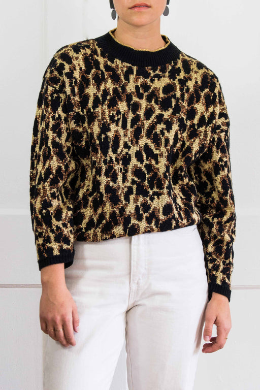 Leopard Print Sweater w/ Metallic Stitching