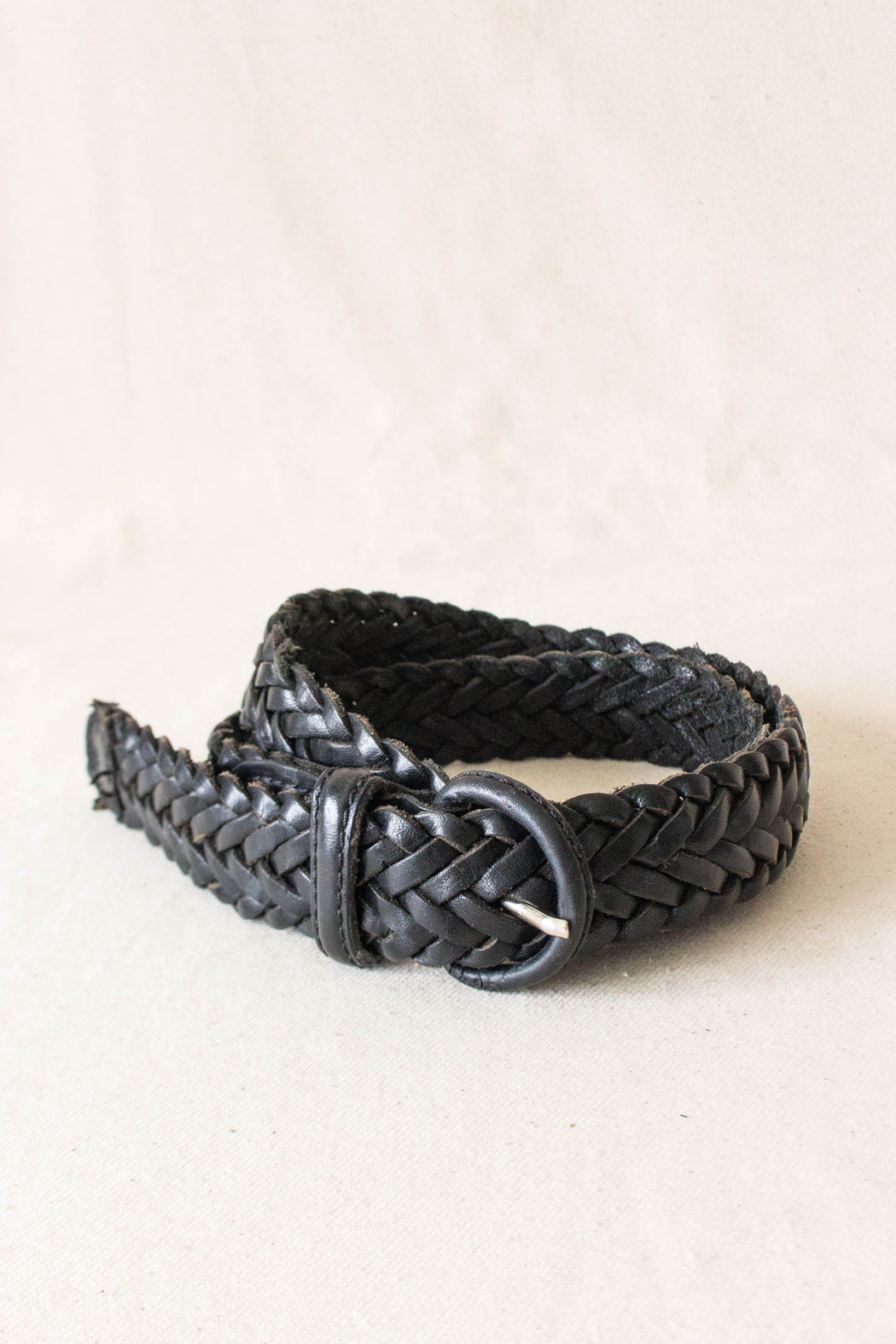 Black Braided Leather Belt