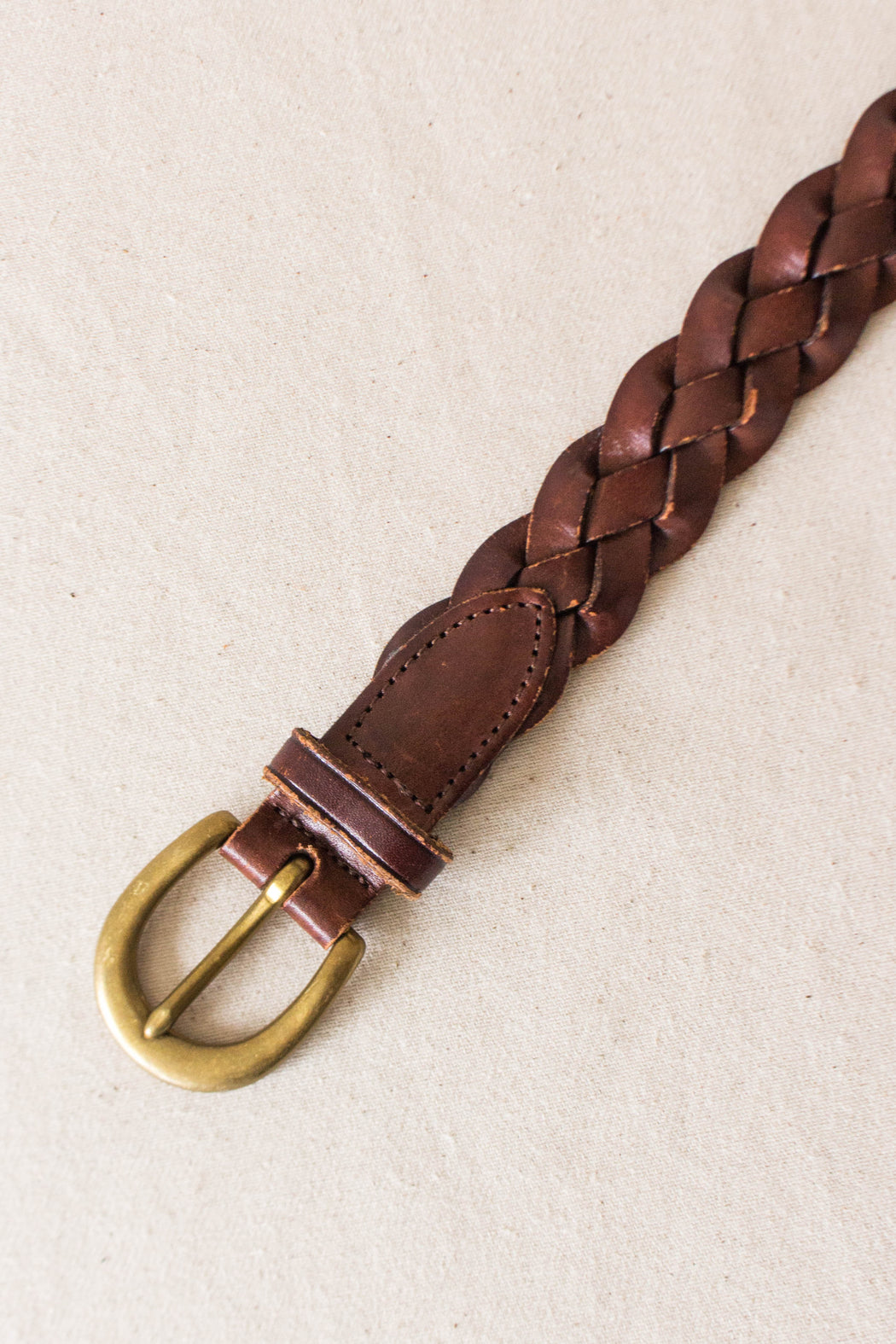 Brown Leather Braided L.L. Bean Belt