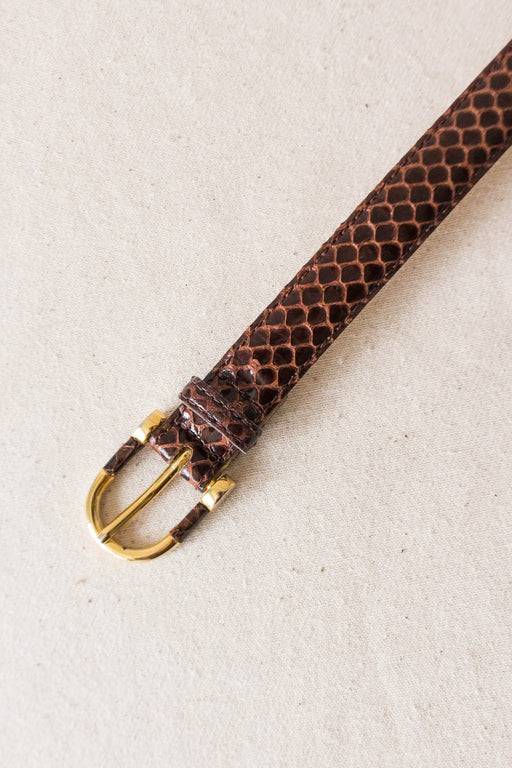 Brown Genuine Snakeskin Belt