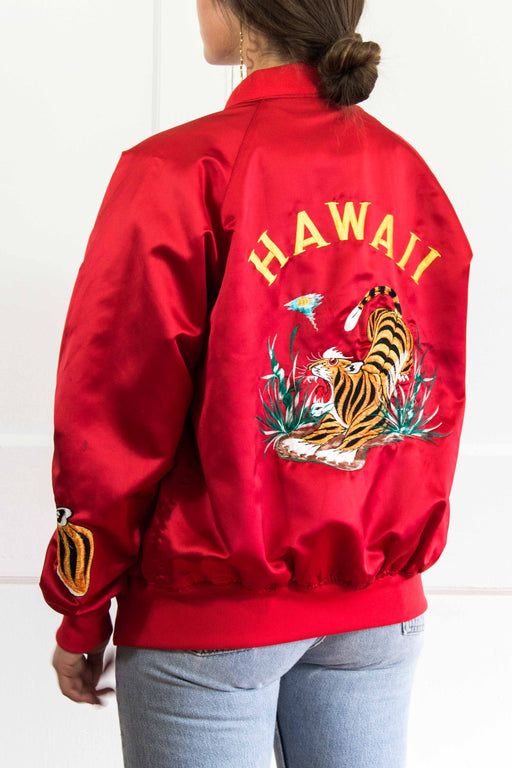Red Embroidered Hawaii Bomber Jacket