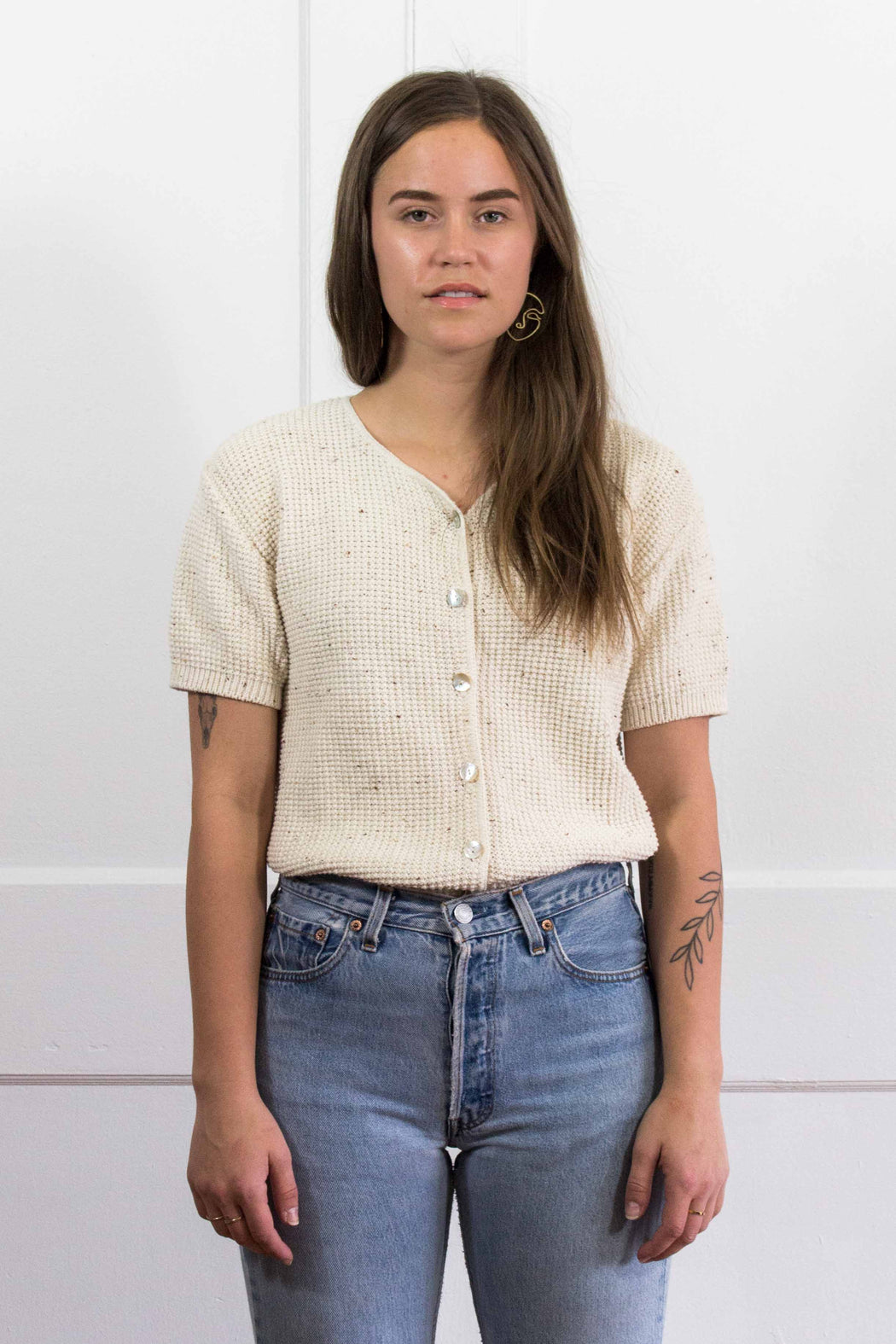 Cream Speckled Knit Short Sleeve Sweater