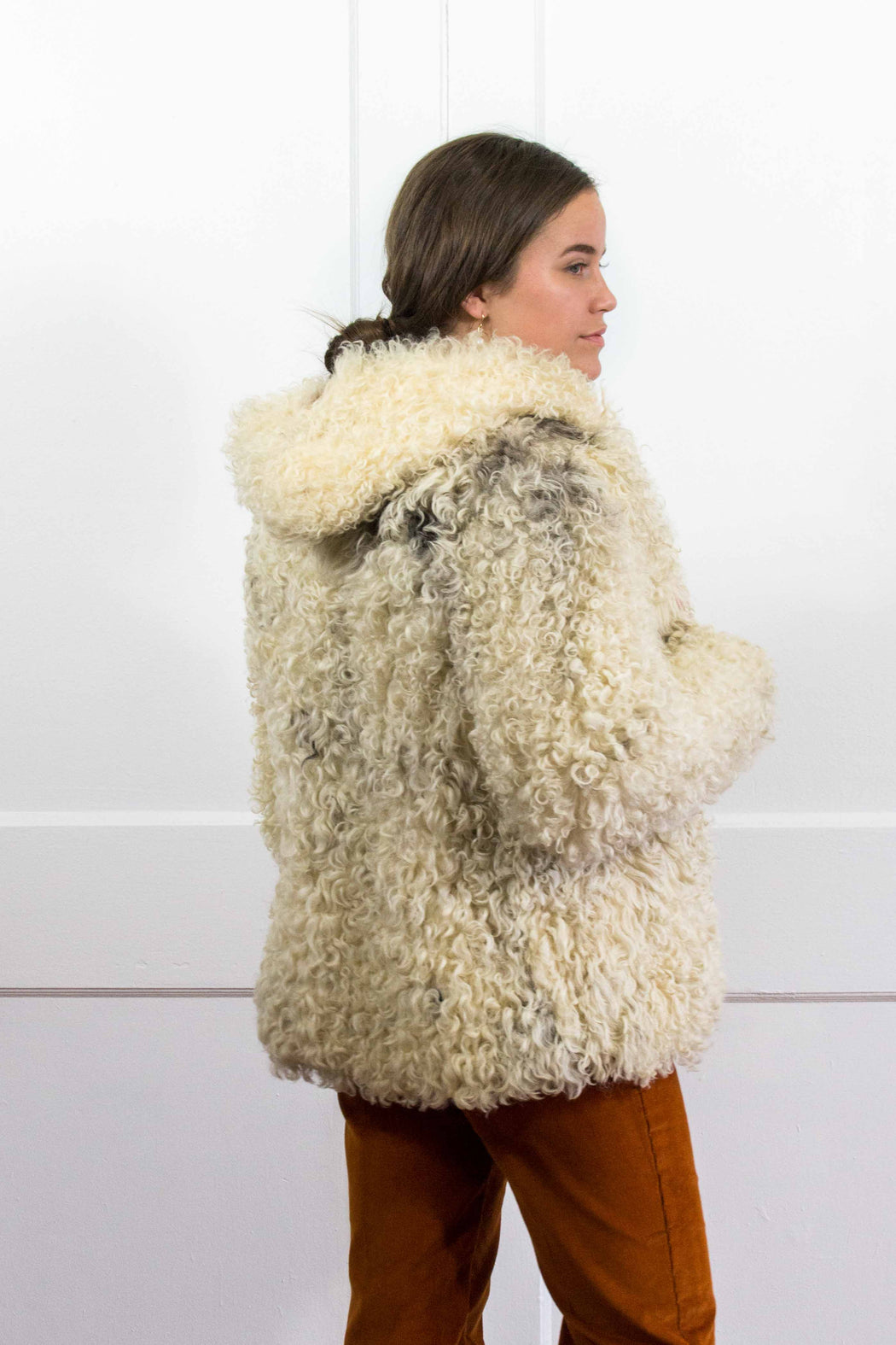 White Curly Shearling Coat With Hood