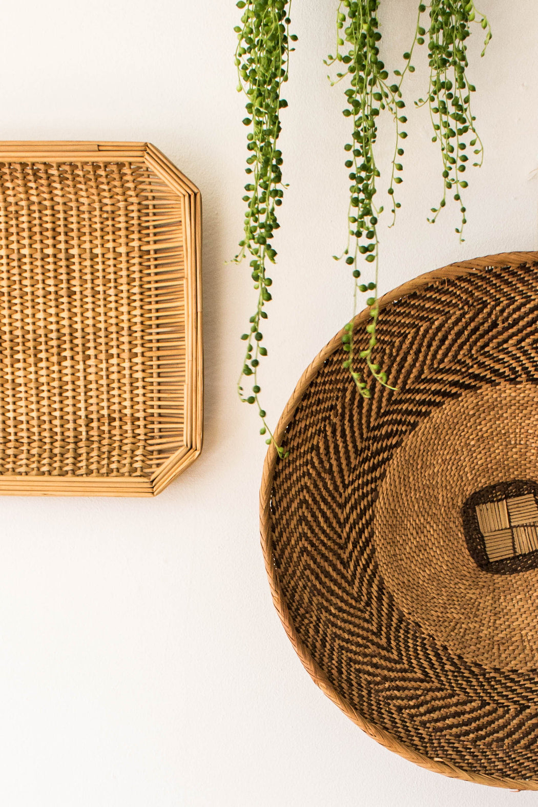 Flat Round Woven African Basket