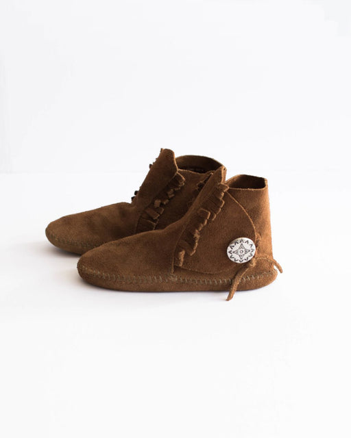 Kid's Brown Moccasins With Silver Buckle