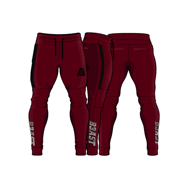 Maroon/Black | Fitted Tech Fleece Joggers