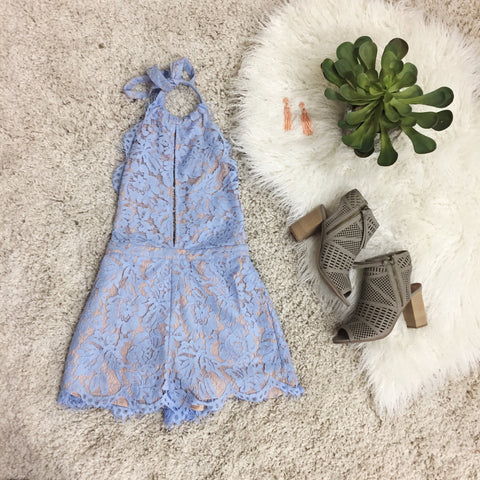 Perfect In Lace Romper - Light Blue
