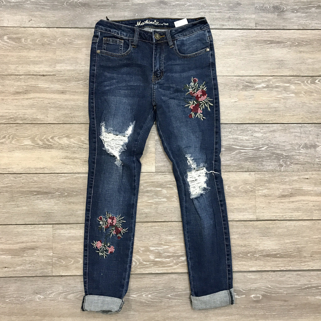 Faded Floral Jeans - Runway Seven