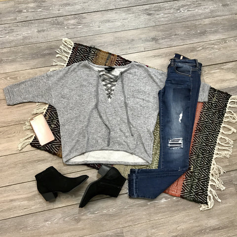 Girly in Gray Sweater