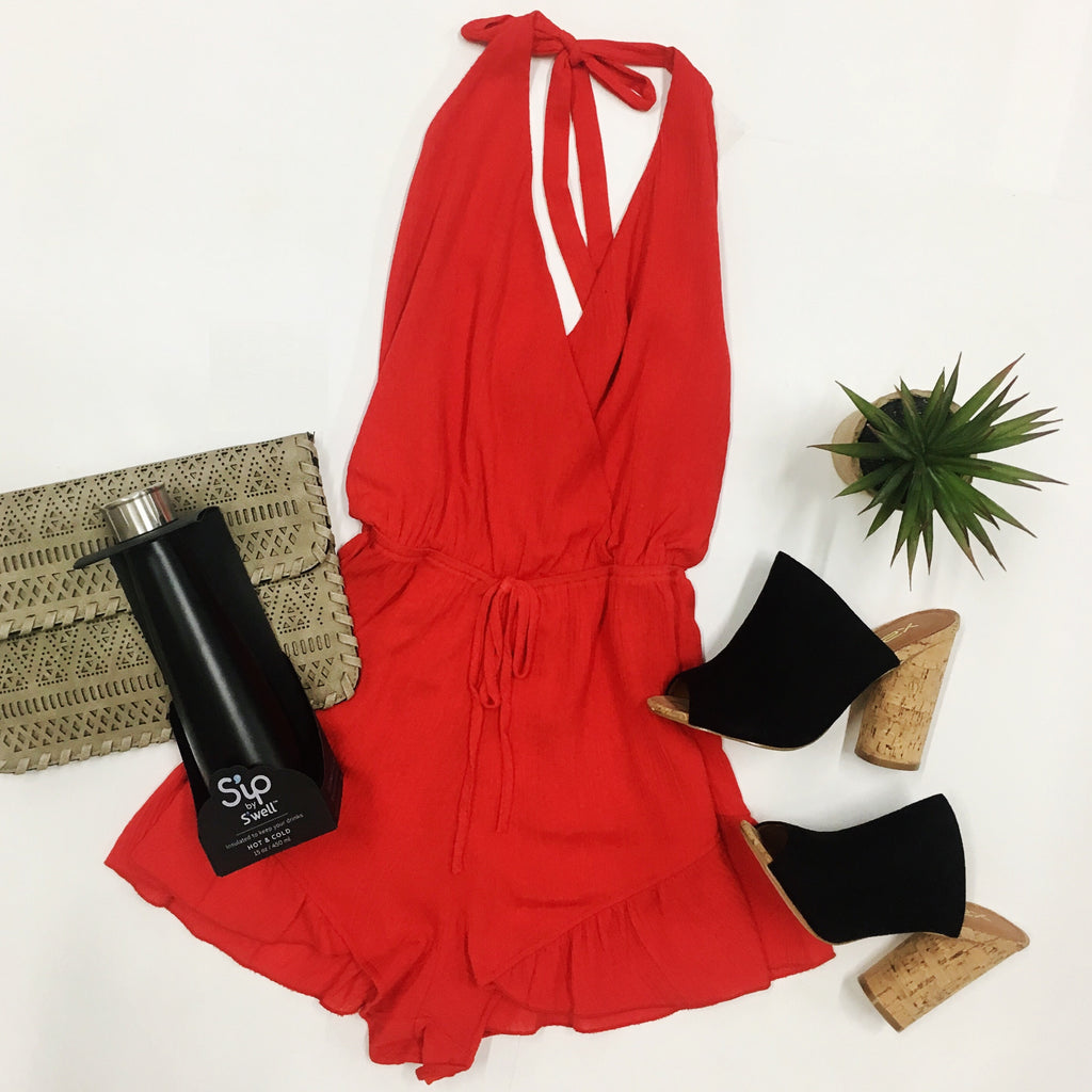 Flying Solo Romper - Red