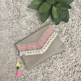 Bright and Fun Clutch-Khaki