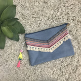 Bright and Fun Clutch-Denim