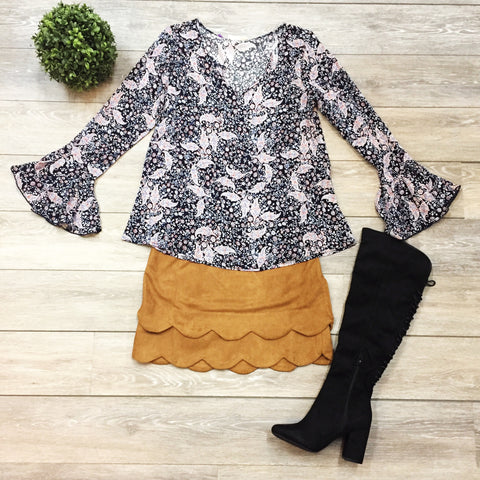 Sweet Scalloped Suede Skirt