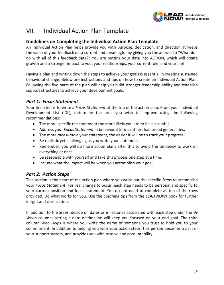 LEAD NOW Individual Action Planning Workbook Stewart Leadership – Individual Action Plan Template