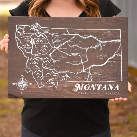 montana map wooden sign the montana scene
