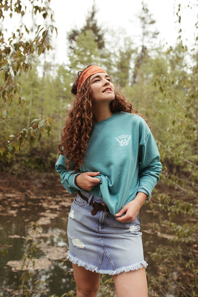 take me to the wildflowers teal pullover