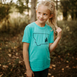Montana tree outline kids tee