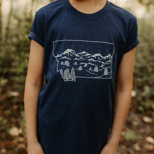 Montana Winter Kids Tee - Royal Blue