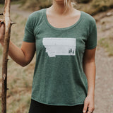 Trees Festival Ladies Tee Heathered Green