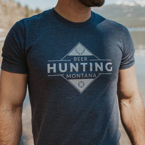 Beer Hunting Montana Men's Tee Navy