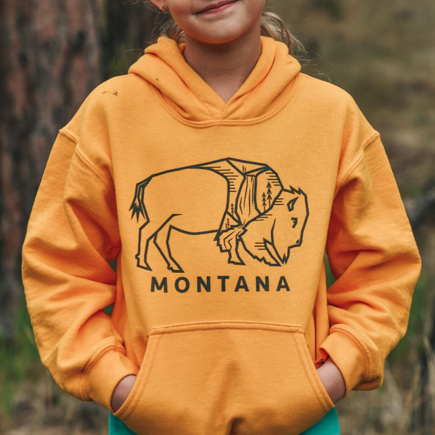 Montana Bison Youth Hoodie - Bright Yellow 1