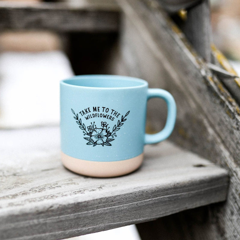 Take Me To The Wildflowers Ceramic Mug - Light Blue