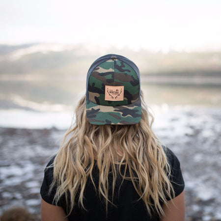 Two Tone Montana Trees Trucker - Black W/ Mint