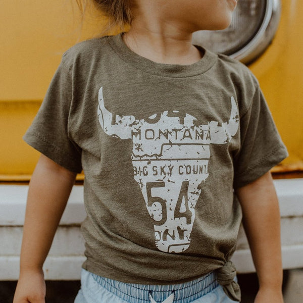 Skull Toddler & Kid Tee Olive