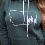 Montana Tree Outline Fleece Hoodie Unisex - Green