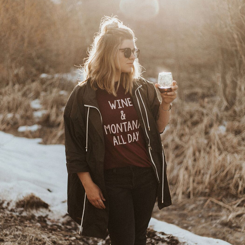 Wine & Montana All Day Unisex T Maroon