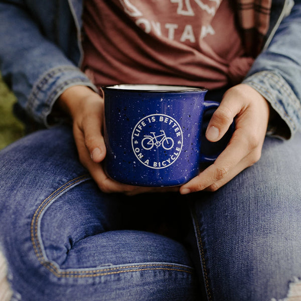Life is Better on Bicycle Ceramic Mug - Blue