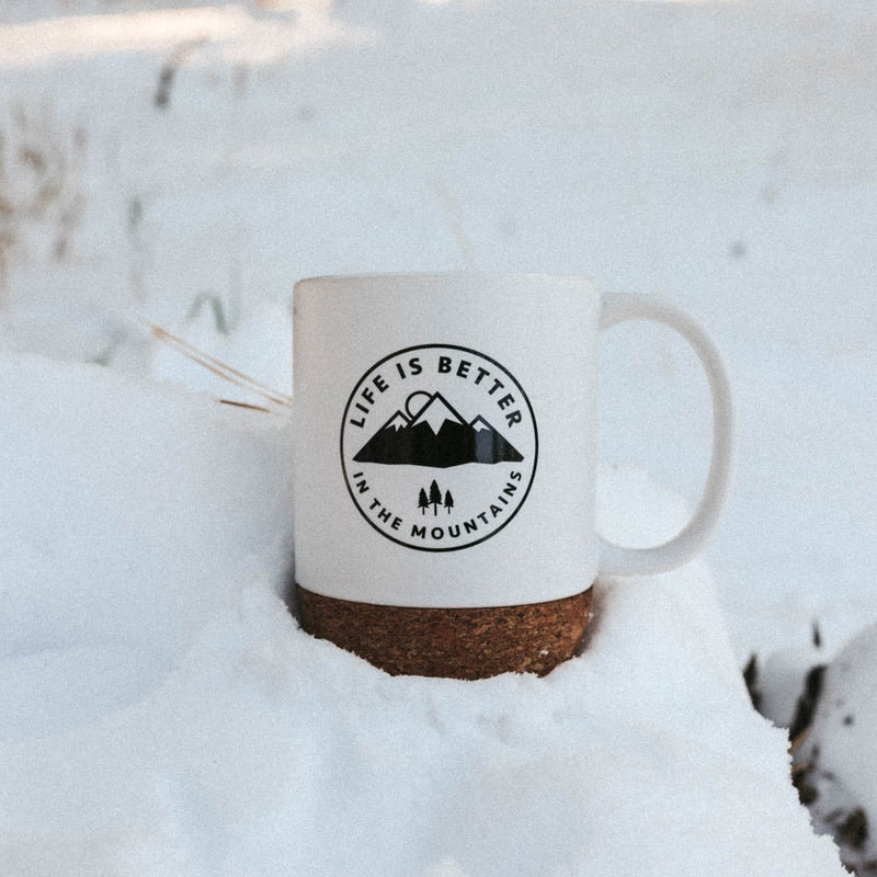 Life is Better in the Mountains Cork Mug - White