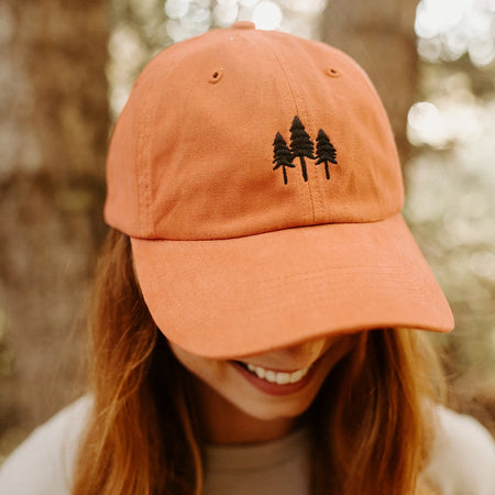 Three Tree Trucker - Orange w/ Blue